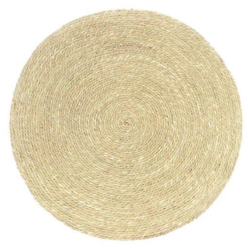 Alfombra redonda en tejido de fibra de Yute de 80 cm