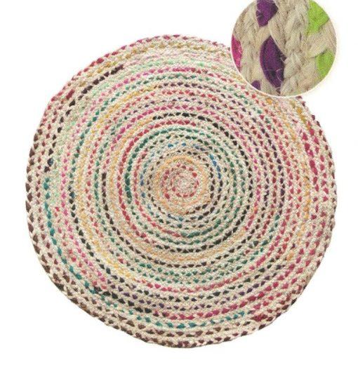 Alfombra redonda tejido en fibra natural en Yute bicolor de 80 cm