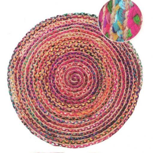 Alfombra redonda tejido en fibra natural en Yute bicolor de 90 cm