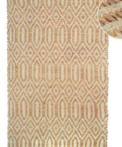 Alfombra rectangular en tejido natural de Yute rombos de 60 X 110 cm