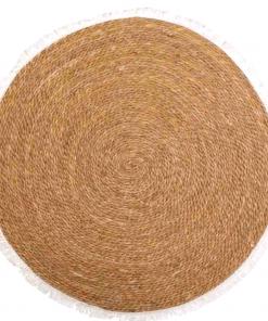 Alfombra redonda tejido en fibra natural de 120 cm
