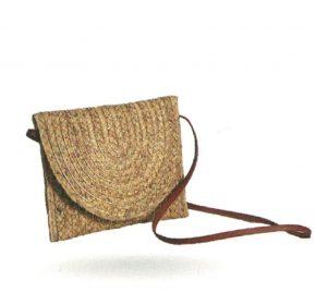 Bolso de paseo colgar material en paja / oro con solapa