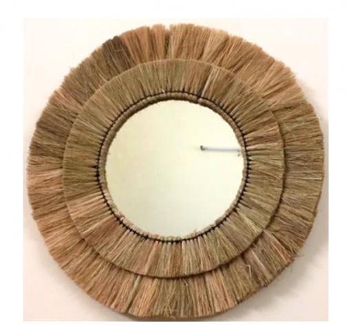 Espejo redondo pared en Fibra natural