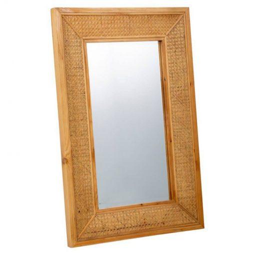 Espejo de pared en material de fibras en color natural