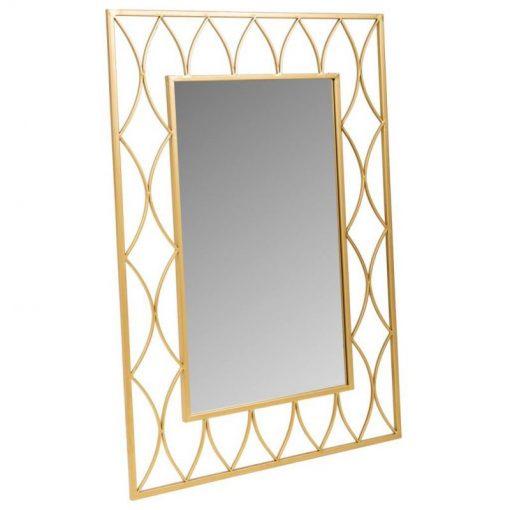 Espejo de pared rectangular en metal en color dorado