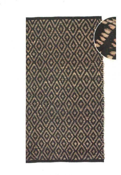 Alfombra rectangular en tejido natural de Yute negrode 60 X 110 cm